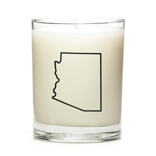 State Outline Soy Wax Candle, Arizona State, Peach Belini