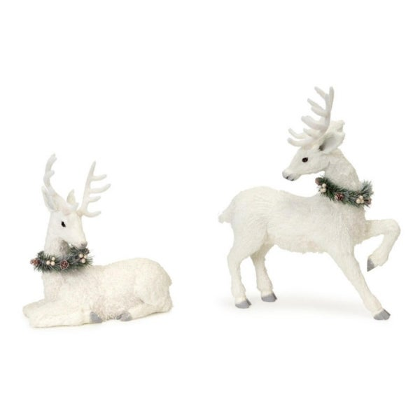 """Pack of 2 Glittered Snow Covered Sisal Deer Christmas Table Top Figure 2-Piece Sets 18"""""""