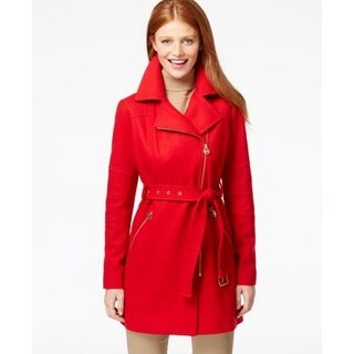 Michael Kors Petite Asymmetrical-Zip Belted Coat True Red Petite XL