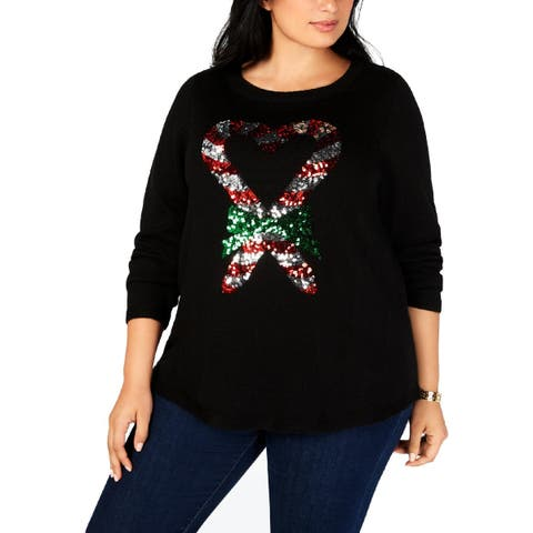 Karen Scott Womens Plus Candy Cane Christmas Sweater Holiday Sequined