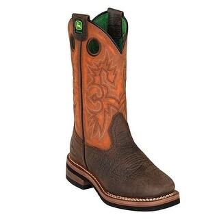 John Deere Boys Girls Orange Top Leather Kids Boots 11-3