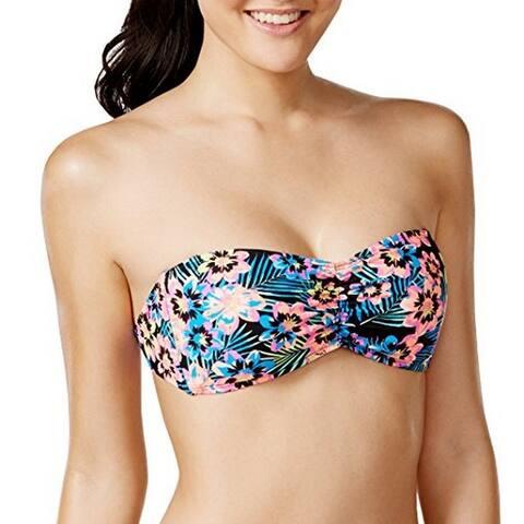 Bikini Nation Junior's Floral Print Strapless Bandeau Bikini Top (Multi, X-Small)
