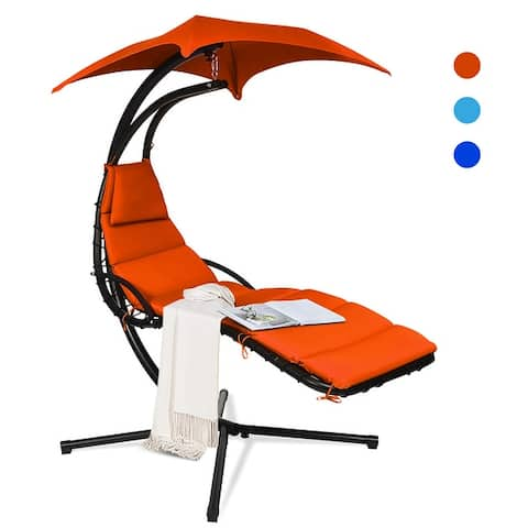 Costway Hanging Swing Chair Hammock Chair w/ Pillow Canopy Stand