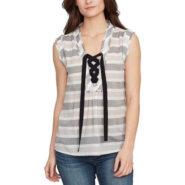 William Rast Gray Multi Womens Size Small S Striped Lace-Up Blouse
