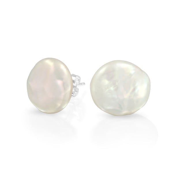 0730a9b02a7 Bridal White Biwa Coin Freshwater Cultured Pearl Stud Earrings For Women  925 Sterling Silver