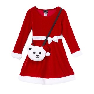 Pink&Violet Little Girl Christmas Velvet Fit&Flare Red/White Dress W Purse