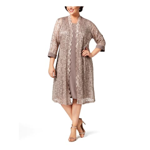 R&M Richards Womens Plus Dress With Cardigan Lace Duster