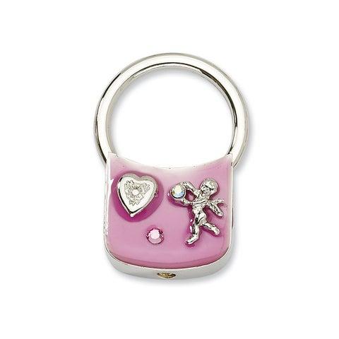 Silvertone Angel w/Crystals Pink Enamel Key Fob