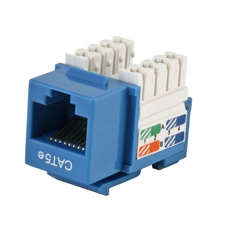 Monoprice Cat5E Punch Down Keystone Jack - Blue 90 Degree Wire Connection, UL listed