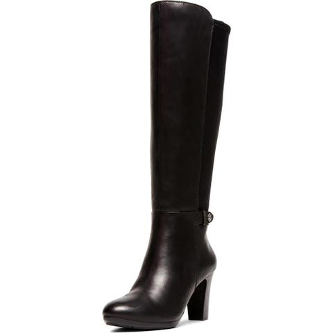 Anne Klein Womens Silence Knee-High Boots Leather Tall - Black Leather