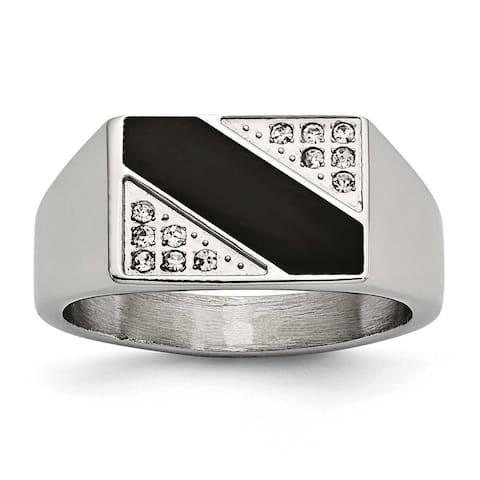 Chisel Stainless Steel Polished Black Enameled CZ Signet Ring (11 mm)