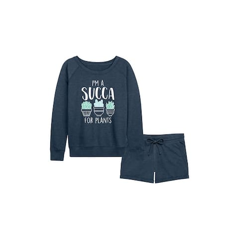 I'm A Succa For Plants - Women's French Terry Shorts Set - Heather Indigo