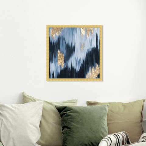 Oliver Gal 'Gold Blue Fall' Abstract Framed Wall Art Prints Paint - Blue, Blue