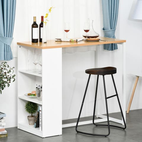 HOMCOM Bar Table with 3-Tier Storage Shelf, Pub Desk, Metal Frame, and Thick Tabletop for Kitchen, White