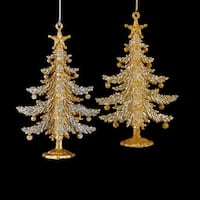"""Club Pack of 24 Silver and Gold Glitter Drenched Christmas Tree Ornaments 5.25"""""""