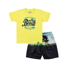Toddler Boy Outfit Graphic Tee Shirt and Shorts Set Pulla Bulla Sizes 1-3 Years