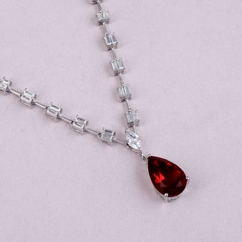 Ruby, Cubic Zirconia Sterling Silver Pear, Marquise Chain Pendant by Orchid Jewelry