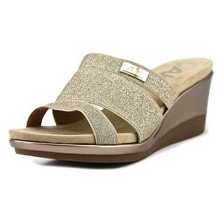 Anne Klein Sport Penella   Open Toe Canvas  Wedge Sandal