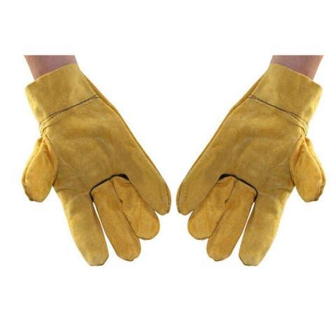 Long Mig Welding WELDERS Work Cowhide Leather Gloves Full White - Yellow