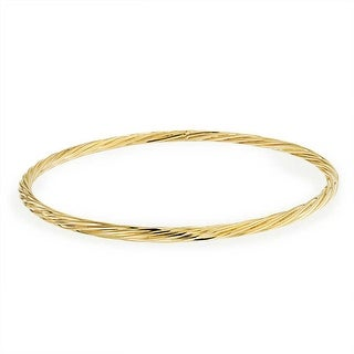 Bling Jewelry Twisted Tube Stackable Bangle Bracelet Gold Filled