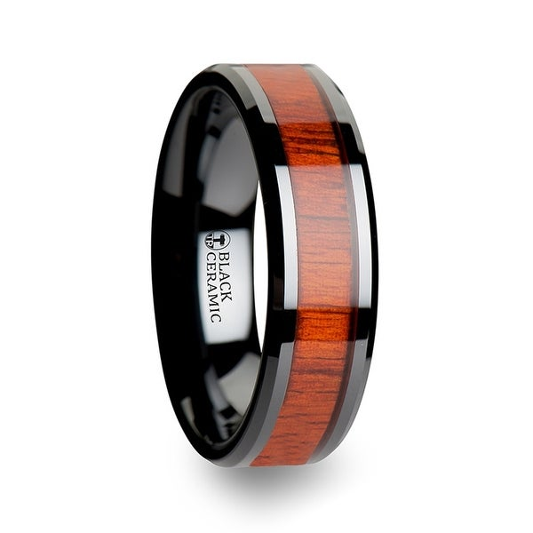 THORSTEN - BOSULU Black Ceramic Ring with Polished Bevels and Padauk Real Wood Inlay - 6mm