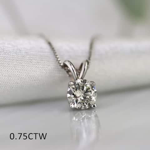 Auriya 18k Gold 1/2 to 1 1/4ct TDW Certified Clarity-enhanced Diamond Necklace