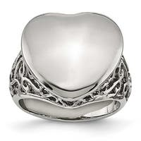 Chisel Stainless Steel Polished Heart Ring