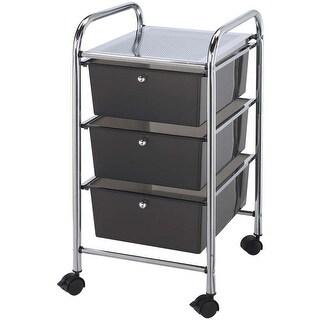 """Storage Cart W/3 Drawers-13""""X26""""X45.5"""" Smoke"""