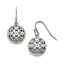 Chisel Stainless Steel Polished CZ Circle Shepherd Hook Earrings