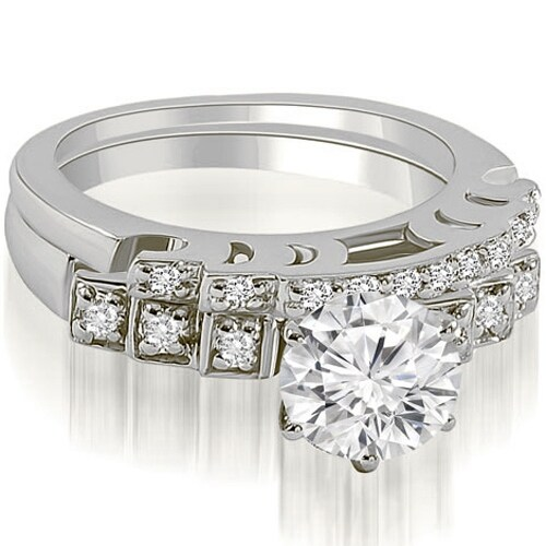 1.25 cttw. 14K White Gold Vintage Round Cut Diamond Bridal Set