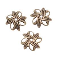 Antiqued Brass Ornate Eight Petal Pinwheel Bead Caps 1.8x10mm (50)