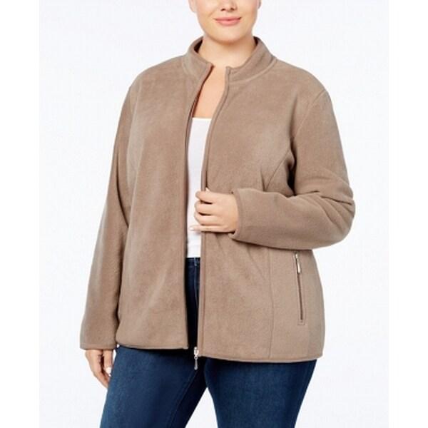 Karen Scott Brown Women's Size 3X Plus Full-Zip Fleece Jacket