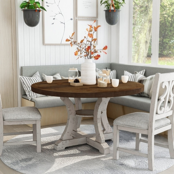 Furniture of America Sylmer Farmhouse Round Dining Table. Opens flyout.