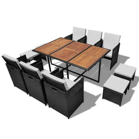 vidaXL Rattan Wicker Acacia Outdoor 27-piece Dining Set