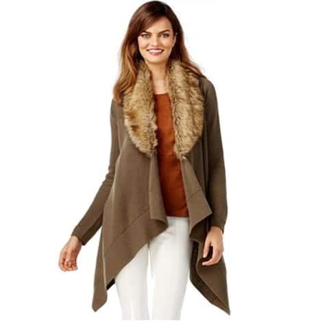 INC International Concepts Women's Faux-Fur Cardigan ,Green, L