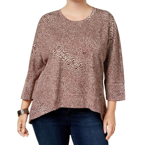 f6e083236 Melissa MCCarthy Seven7 Brown Womens Size 1X Plus High Low Blouse. Click to  Zoom