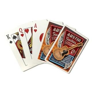Austin, Texas - Guitar Shop Vintage Sign - Lantern Press Artwork (Playing Card Deck - 52 Card Poker Size with Jokers)