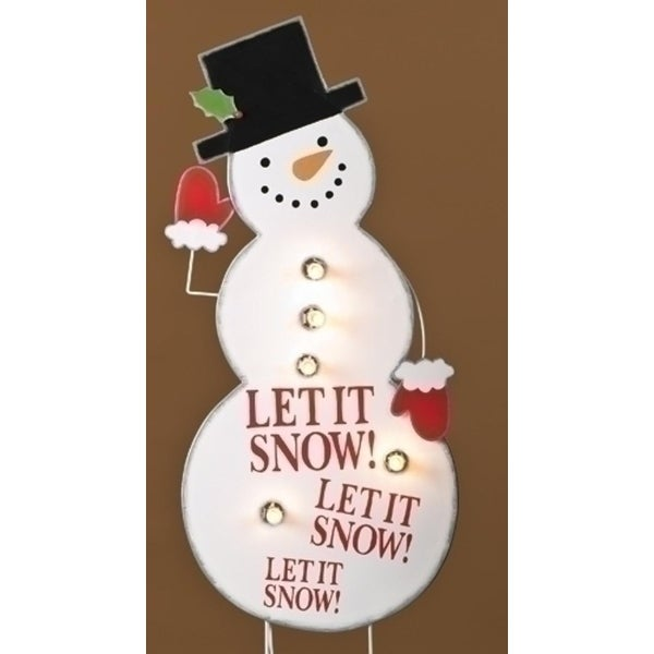 "40"" Lighted Whimsical Snowman ""Let it Snow"" Christmas Outdoor Decoration - WHITE"
