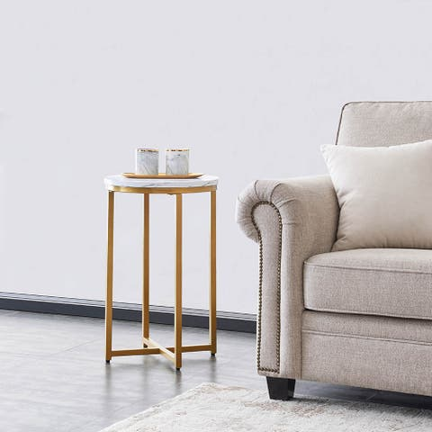 Living Room Side table/End Table MDF with Powder-Coated Metal Legs