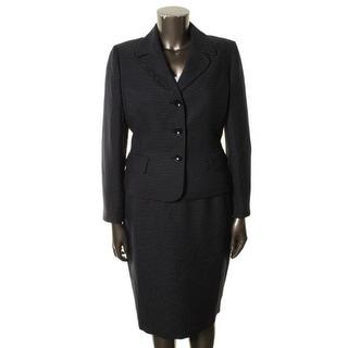 Le Suit Womens Blue Grotto Knit Lined Skirt Suit - 14