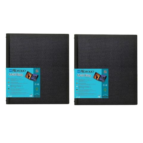 """Itoya Art Profolio 18"""" x 24"""" Multi Ring Refillable Binder (Black, 2Pk)"""