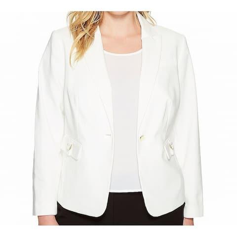 Calvin Klein Women's Jacket White Size 22W Plus Flap-Pocket Blazer