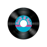 Club Pack of 96 Black Rock & Roll Record Decorative Round Coasters 3.5""