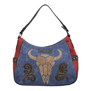 "Angel Ranch Western Handbag Womens Canvas Floral Satchel Blue HB755 - 15"" x 5 1/2"" x 10"""