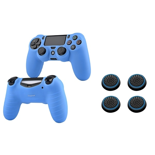 Insten Blue Silicone Skin Case/ 4-piece Set Blue Controller Analog Thumbstick Cap for Sony Playstation 4 PS4