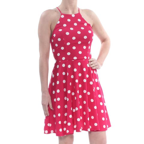 CITY STUDIO Womens Pink Cut Out Polka Dot Sleeveless Halter Above The Knee Fit + Flare Dress Juniors Size: 1
