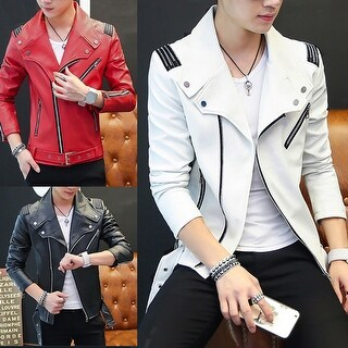 Men's Fashion Punk Faux Leather Zipper Slim Fit Jacket Coat Motorcycle Clothing
