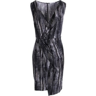 T Tahari Womens Lynlee Faux-Wrap Printed Wear to Work Dress - M