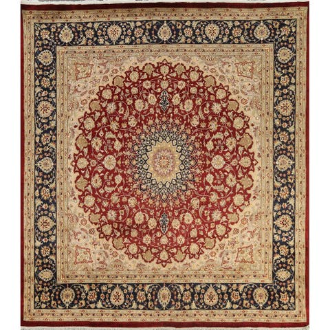 """Wool/ Silk Vegetable Dye Royal Tabriz Oriental Area Rug Hand-knotted - 7'7"""" x 7'9"""" Square"""