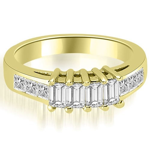 1.00 cttw. 14K Yellow Gold Channel Princess and Emerald Cut Diamond Wedding Band